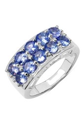 Olivia Leone Sterling Silver Round Tanzanite Two Row Ring Blue