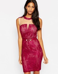 Little Mistress Belted Midi Dress In Overlay Lace Raspberry