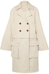 Rosetta Getty Convertible Double Breasted Cady Jacket Cream
