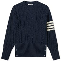 Thom Browne Aran Cable 4 Bar Donegal Crew Knit Blue