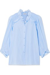Vilshenko Marie Shirred Washed Silk Top Blue
