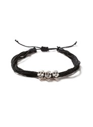 Topman Black Thread Skull Bracelet