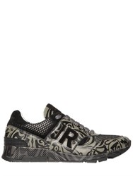 John Richmond Tattoo Printed Leather Running Sneakers