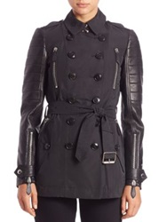 Burberry Bransdale Leather Sleeve Trenchcoat Black