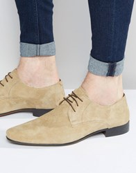 Asos Derby Shoes In Stone Suede Stone