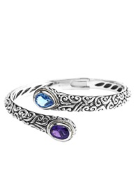 Effy Balissima Sterling Silver With 18Kt. Yellow Gold Multi Colored Bangle Bracelet Amethyst Blue Topaz