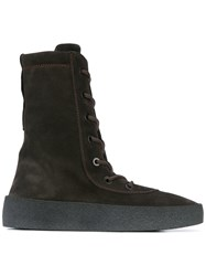 Yeezy Season 4 Lace Up Boots Men Calf Leather Calf Suede Rubber 40 Brown