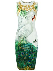 Versace Collection Swan And Peacock Print Fitted Dress Multicolour