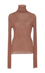 Tibi Ribbed Metallic Turtleneck Rose Gold