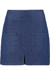 See By Chloe Quilted Cotton Mini Skirt Mid Denim