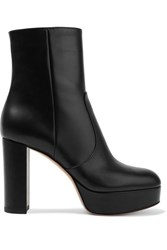Gianvito Rossi 100 Leather Platform Ankle Boots Black