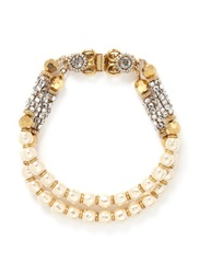 Miriam Haskell Two Strand Baroque Glass Pearl Crystal Bracelet White