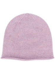 Pringle Of Scotland Fine Knit Beanie Pink And Purple