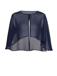 Gina Bacconi Chiffon Cape With Open Back Detail Navy