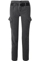 Rta Sallinger Belted Cotton Twill Cargo Pants Dark Gray