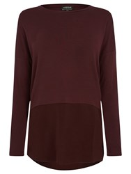 Warehouse Woven Mix Sleeved Top Dark Red
