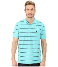 Nautica Short Sleeve Stripe Deck Polo Bali Bliss Men's Short Sleeve Knit Blue