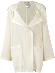 Issey Miyake Vintage Pleated Cardigan Nude And Neutrals