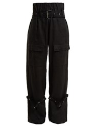 Marques Almeida Belted Linen Cargo Trousers Black