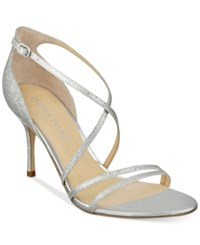 Ivanka Trump Garis Dress Sandals Women's Shoes Silver Glitter