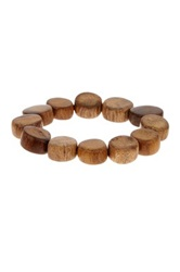 Jean Claude Palm Wood Beaded Stretch Bracelet Brown
