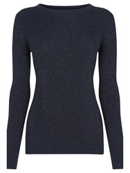 Warehouse Ribbed Sparkle Crew Neck Jumper Navy