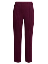 Issey Miyake Cropped Straight Leg Trousers Purple