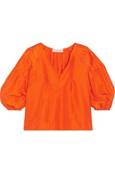 Apiece Apart Tan Tan Pintucked Silk Satin Blouse Orange