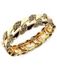 Anne Klein Gold Tone Clear Crystal Pave Chain Link Stretch Bracelet