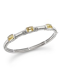 Judith Ripka Sterling Silver Triple Stone Bangle Bracelet With White Sapphire And Canary Crystal Yellow Silver