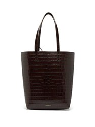 Mansur Gavriel Everyday Crocodile Embossed Leather Tote Bag Dark Brown