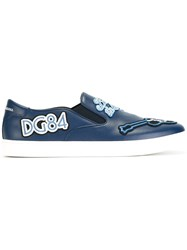 Dolce And Gabbana London Jazz Patches Slip On Sneakers Blue