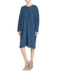 Eskandar Round Neck Dress Blue