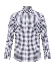 Thom Sweeney Checked Cotton Twill Shirt Blue Multi