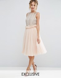 Lace And Beads Tulle Skirt With Gathered Waist Detail Nude Pink