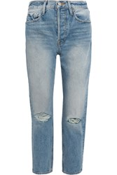 Frame Rigid Re Release Le Original Distressed High Rise Straight Leg Jeans Blue