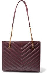 Saint Laurent Tribeca Small Quilted Textured Leather Tote Burgundy