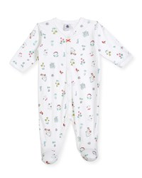 Petit Bateau Flower And Animal Print Footie Pajamas White