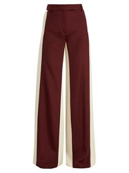 Valentino Wide Leg Low Waist Stripe Tailored Trousers Burgundy