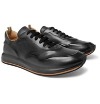 Officine Creative Race Lux Burnished Leather Sneakers Dark Gray