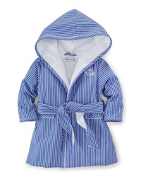 Ralph Lauren Striped Terry Lined Robe Blue White