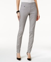 Alfani Jacquard Pull On Skinny Pants Only At Macy's Black White Print