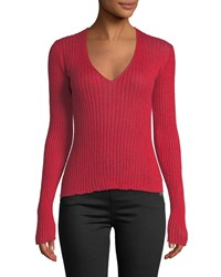Rag And Bone Donna Ribbed Mohair V Neck Sweater Red