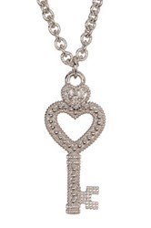 Judith Ripka Sterling Silver Key Heart Necklace Beige