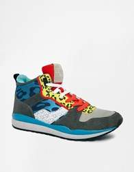 River Island High Top Trainers With Animal Print Detail Blue