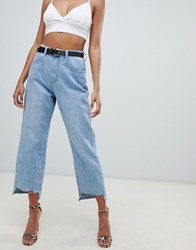 Missguided Boyfriend Step Hem Crop Jeans In Blue