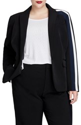 Rachel Roy Plus Size Darby Stripe Blazer Black