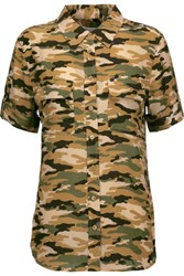 Equipment Camouflage Print Washed Silk Shirt Army Green