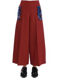Delpozo Cool Wool Wide Pants W Sequined Pockets