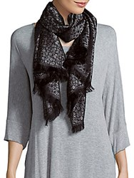 Badgley Mischka Printed Silk Blend Scarf Black Gold